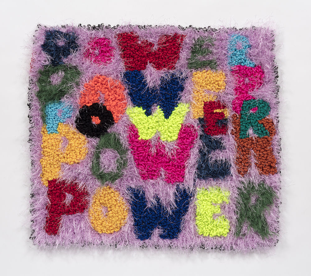 Hannah Epstein. <em>Power Piece</em>, 2019. Wool, acrylic, polyester and burlap, 27 x 30 inches  (68.6 x 76.2 cm)