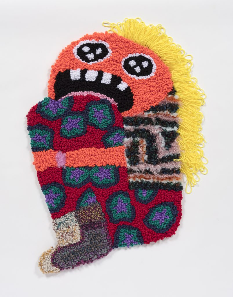 Hannah Epstein. <em>Sad Girl</em>, 2019. Wool, acrylic, polyester and burlap, 35 x 26 inches  (88.9 x 66 cm)