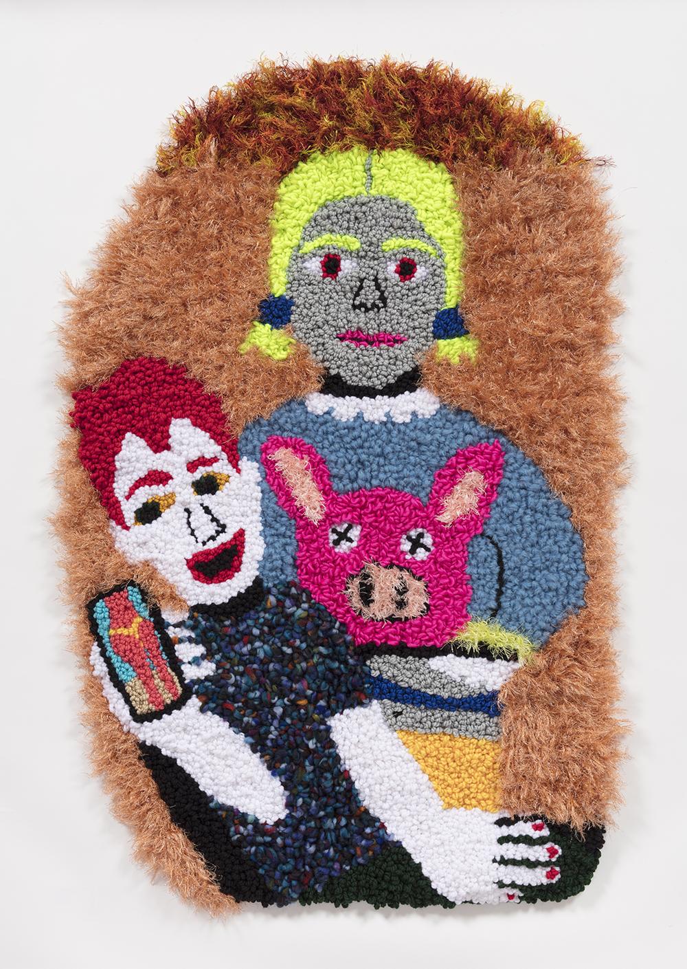 Hannah Epstein. <em>L.A. Pieta</em>, 2019. Wool, acrylic, polyester and burlap, 43 1/2 x 28 inches  (110.5 x 71.1 cm)