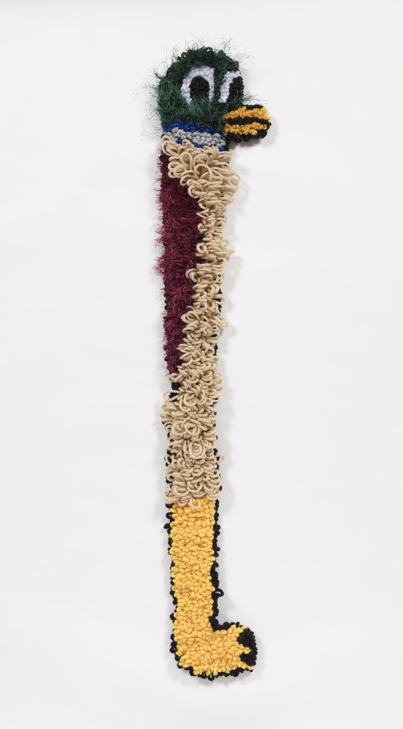 Hannah Epstein. <em>Duck Cane</em>, 2019. Wool, acrylic, polyester and burlap, 43 x 8.5 inches  (109.2 x 21.6 cm)