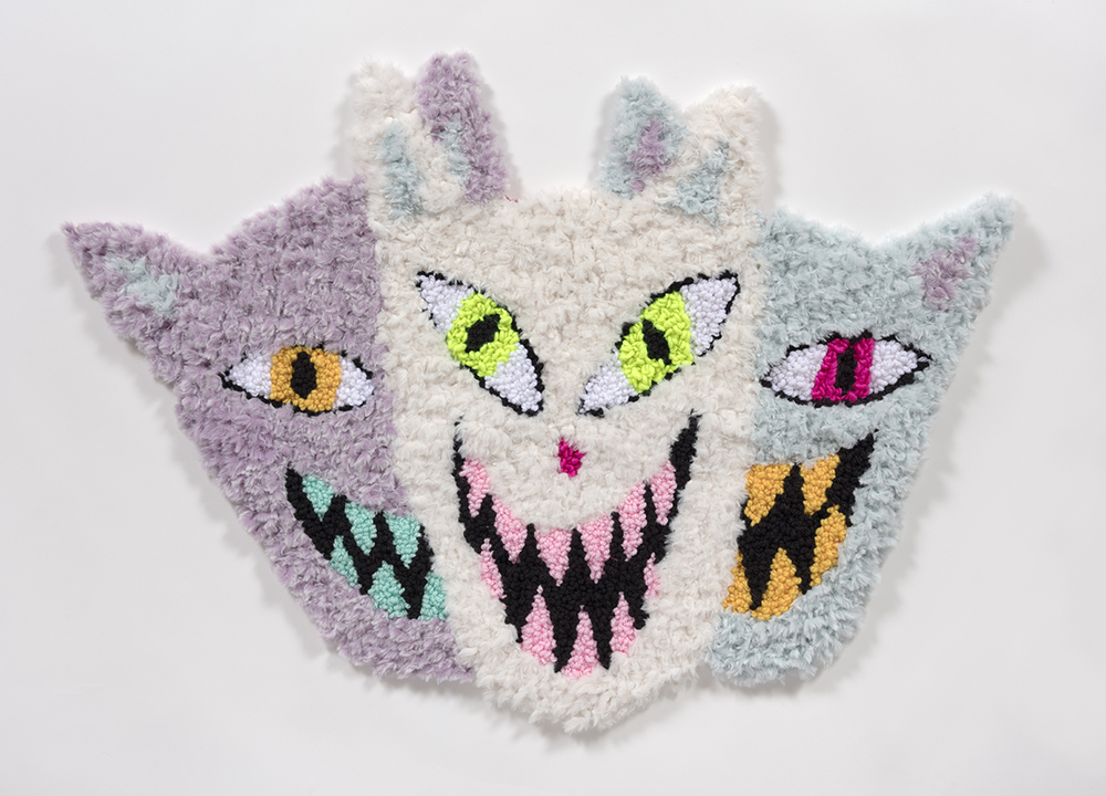 Hannah Epstein. <em>House Guests</em>, 2019. Wool, acrylic, polyester and burlap, 29.5 x 42 inches  (74.9 x 106.7 cm)