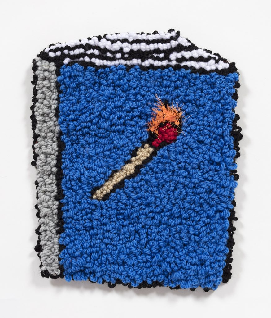 Hannah Epstein. <em>Book of Matches</em>, 2019. Wool, acrylic, polyester and burlap, 13 1/4 x 10 3/4 inches  (33.7 x 27.3 cm)