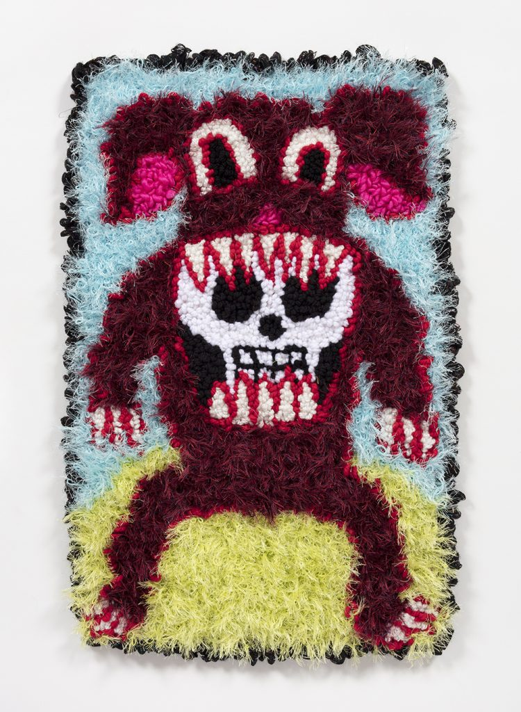 Hannah Epstein. <em>Dog With A Bone</em>, 2019. Wool, acrylic, polyester and burlap, 26 x 17 1/2 inches  (66 x 44.5 cm)