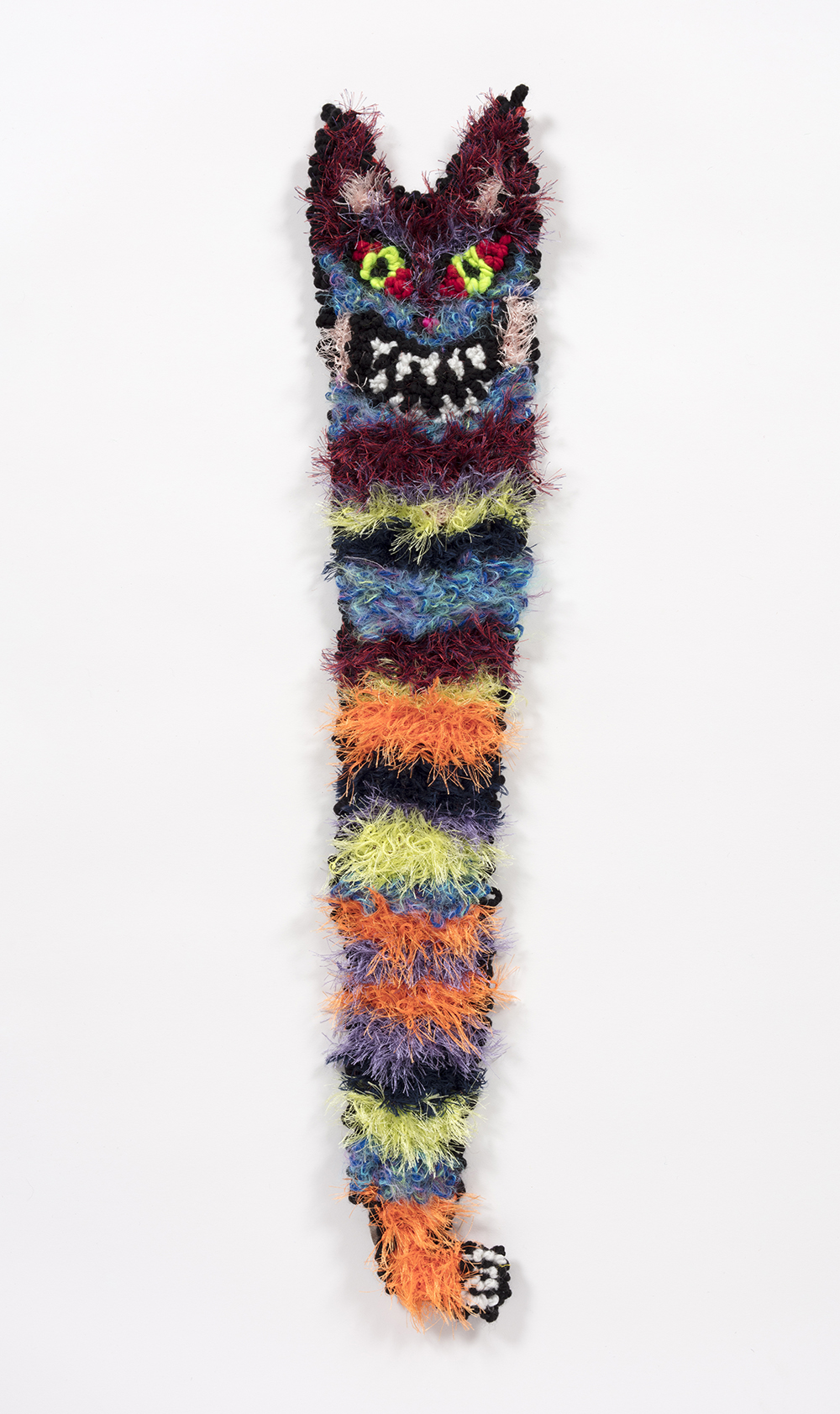 Hannah Epstein. <em>Cat Cane</em>, 2019. Wool, acrylic, polyester and burlap, 31 x 6.5 1/2 inches  (78.7 x 17.8 cm)
