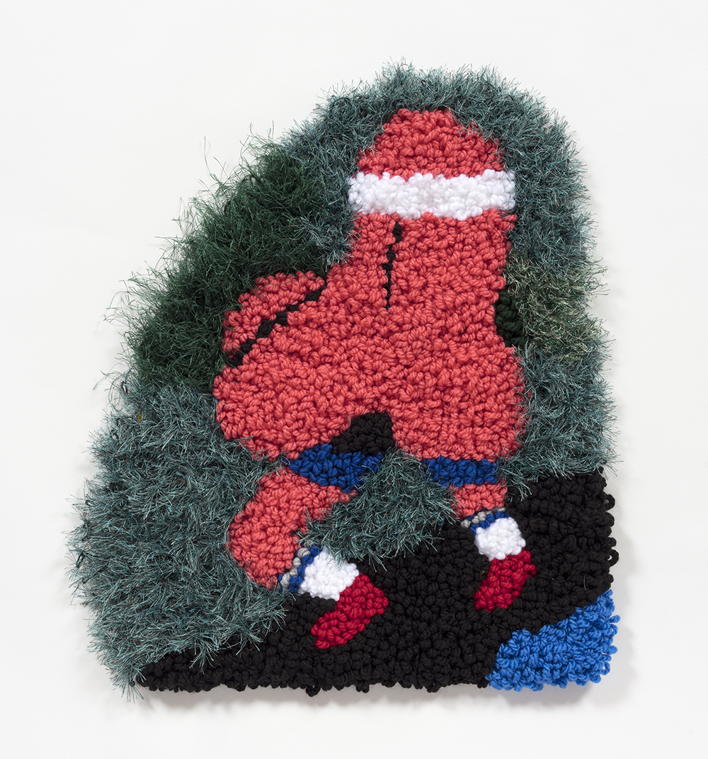 Hannah Epstein. <em>Runny Nose</em>, 2019. Wool, acrylic, polyester and burlap, 19 1/2 x 17 inches  (49.5 x 43.2 cm)