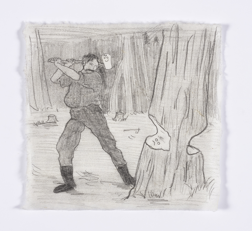 Kevin McNamee-Tweed. <em>Lumberjack Drawing</em>, 2018. Graphite on mulberry paper, 6 1/8 x 6 1/2 inches  (15.6 x 16.5 cm)