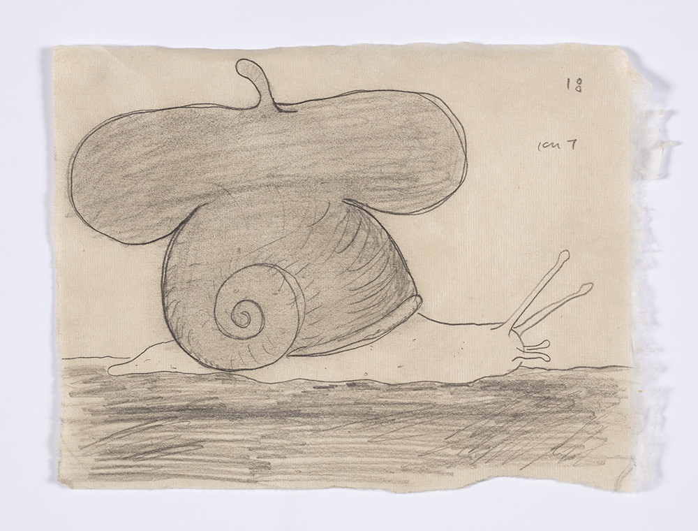 Kevin McNamee-Tweed. <em>Snail (Artist)</em>, 2018. Graphite on mulberry paper, 6 1/2 x 8 7/8 inches  (16.5 x 22.5 cm)