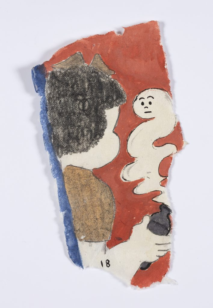 Kevin McNamee-Tweed. <em>Nancy with Genie or Ghost</em>, 2019. Graphite, colored pencil, and ink on mulberry paper, 6 3/4 x 3 1/2 inches  (17.1 x 8.9 cm)