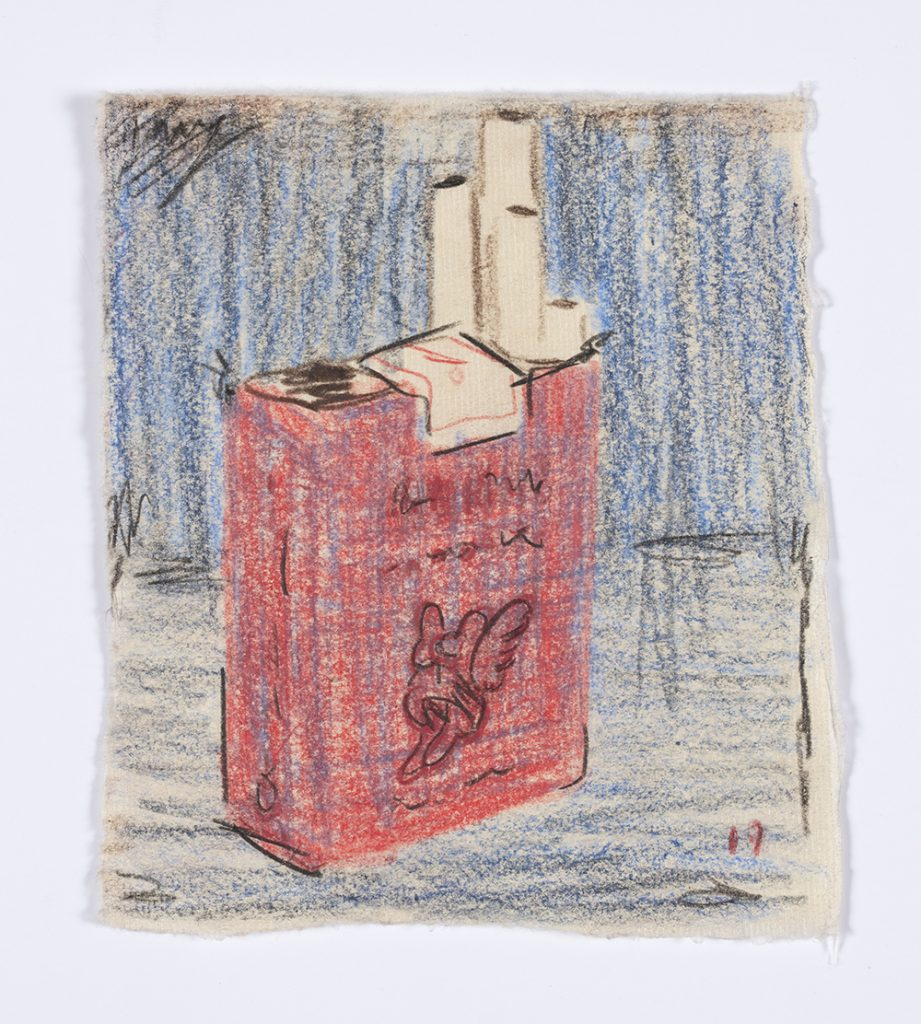 Kevin McNamee-Tweed. <em>Gauloises</em>, 2019. Graphite and colored pencil on mulberry paper, 5 1/8 x 4 1/2 inches  (13 x 11.4 cm)