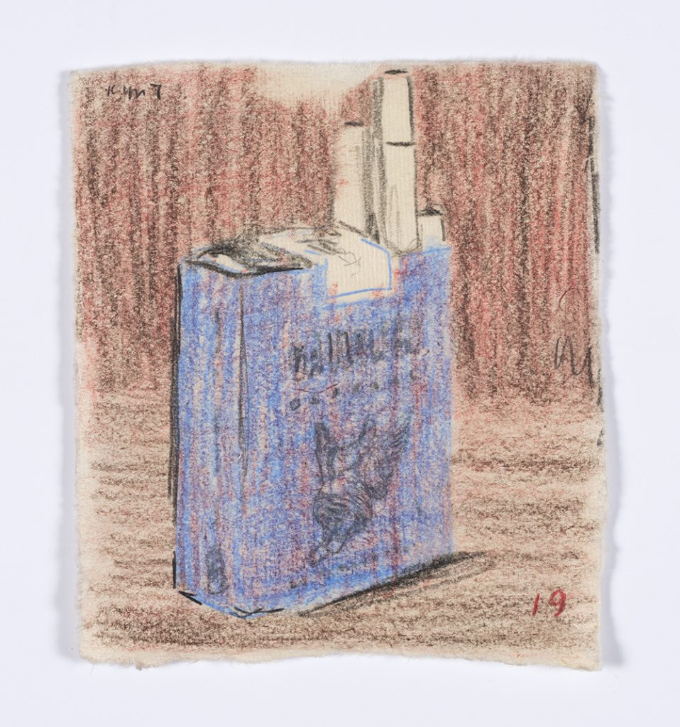 Kevin McNamee-Tweed. <em>Gauloises</em>, 2019. Graphite and colored pencil on mulberry paper, 4 7/8 x 4 1/4 inches  (12.4 x 10.8 cm)