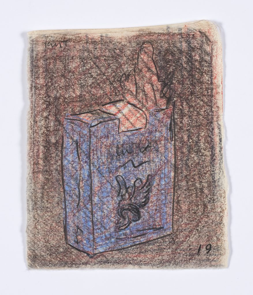 Kevin McNamee-Tweed. <em>Gauloises</em>, 2019. Graphite and colored pencil on mulberry paper, 5 1/8 x 4 inches  (13 x 10.2 cm)