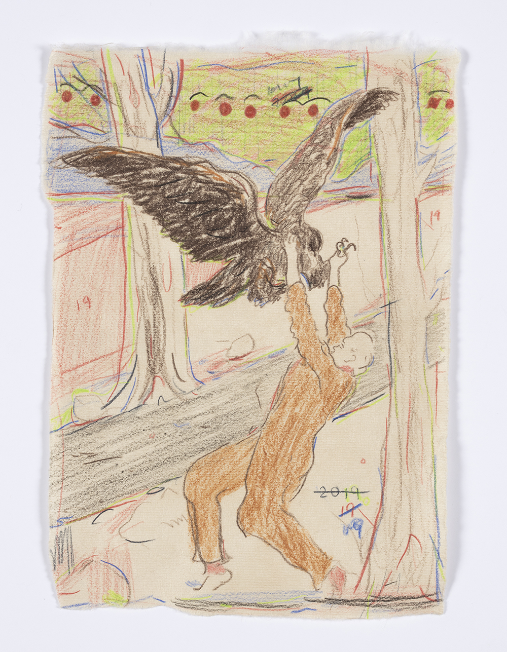 Kevin McNamee-Tweed. <em>Eagle Walk</em>, 2019. Graphite and colored pencil on mulberry paper, 8 1/8 x 5 3/4 inches  (20.6 x 14.6 cm)