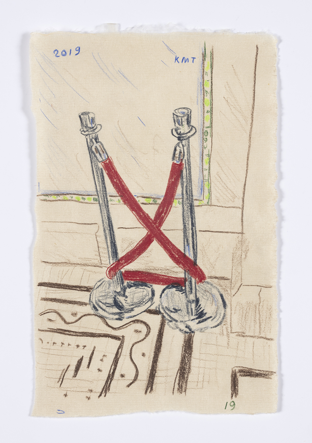 Kevin McNamee-Tweed. <em>Velvet Rope at Chicago Cultural Center</em>, 2019. Graphite and colored pencil on mulberry paper, 8 1/8 x 5 1/4 inches  (20.6 x 13.3 cm)