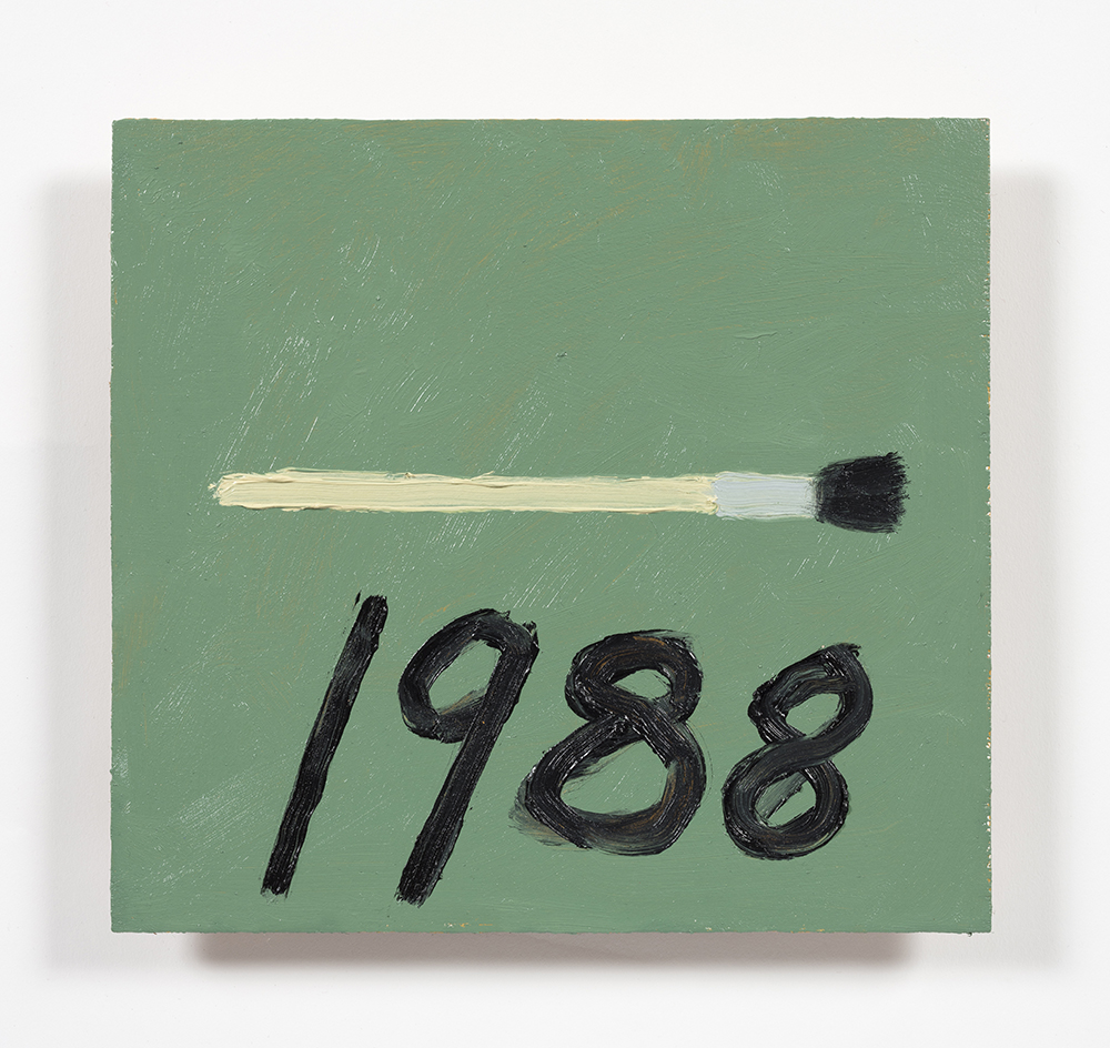 Stephen W. Evans. <em>Paintbrush With Date</em>, 2019. Oil on wood panel, 8.5 x 9 inches  (21.6 x 22.9 cm)