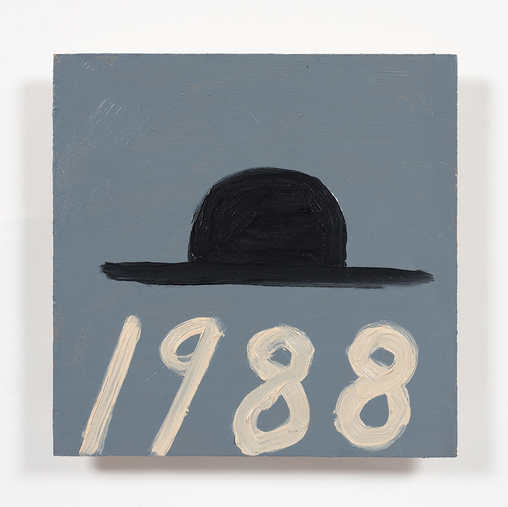 Stephen W. Evans. <em>Hat With Date </em>, 2019. Oil on wood panel, 9 x 9 inches  (22.9 x 22.9 cm)