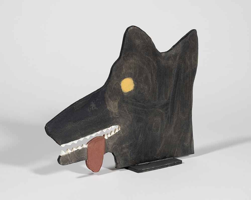 Stephen W. Evans. <em>Head Of A Wolf</em>, 2018. Milk paint on plywood, 8 x 10 x 2 inches (20.3 x 25.4 x 5.1 cm)