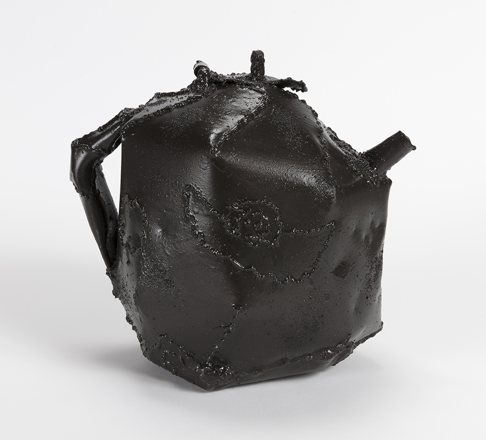 Jesse Pollock.  <em>Black</em>, 2019. Mild steel, enamel paint, lacquer, cherry dust, 10 1/2 x 8 x 11 1/2 inches  (26.7 x 20.3 x 29.2 cm)