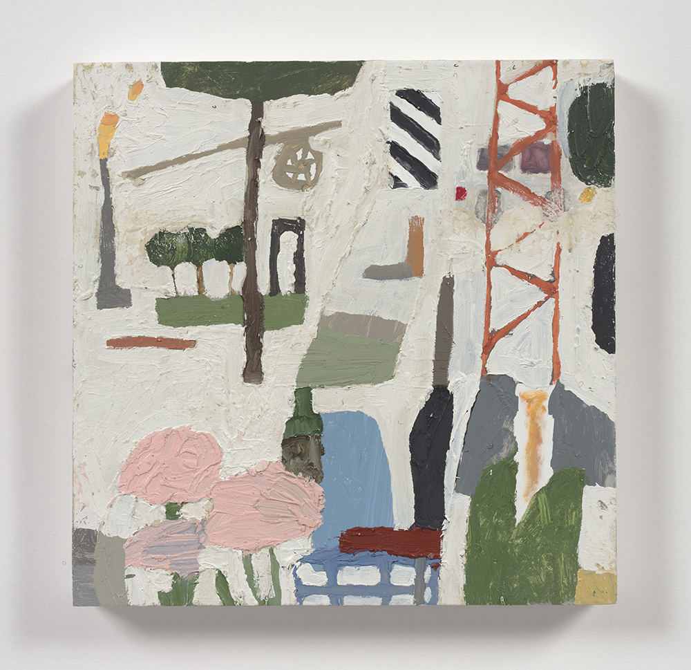 Mariel Capanna. <em>Factory, Flowers, Scaffolding, Trees</em>, 2019. Oil and wax on panel, 8 x 8 inches  (20.3 x 20.3 cm)