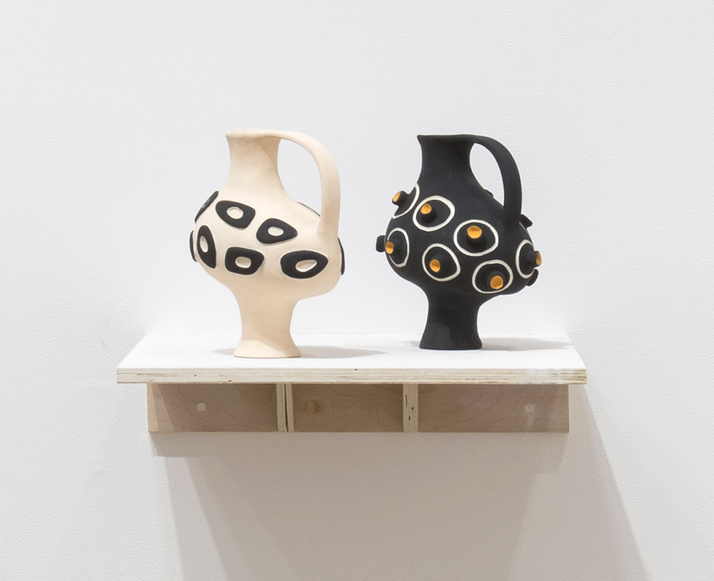 Jennifer Nocon. <em>Untitled</em>, 2018. Ceramic stoneware, underglaze, 10 x 8.5 x 5 1/2 inches  (25.4 x 21.6 x 14 cm) each