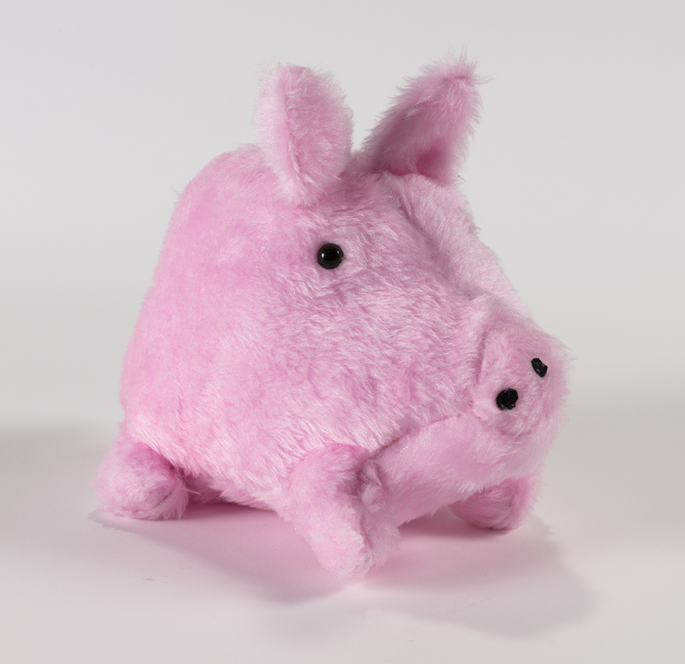 Claire Milbrath. <em>Piggy</em>, 2019. Polyester, plastic, and wire, 8 1/2 x 6 3/4 x 11 1/4 inches  (21.6 x 17.1 x 28.6 cm)