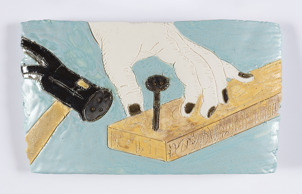 Kevin McNamee-Tweed. <em>Hammer, Nail</em>, 2019. Glazed ceramic, 11 x 9 inches  (27.9 x 22.9 cm)