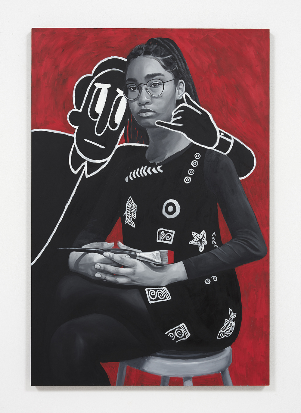 Brittany Tucker.<em> Portrait of the Artist Taking a Call</em>, 2019. Oil on panel, 36 x 24 inches  (91.4 x 61 cm)