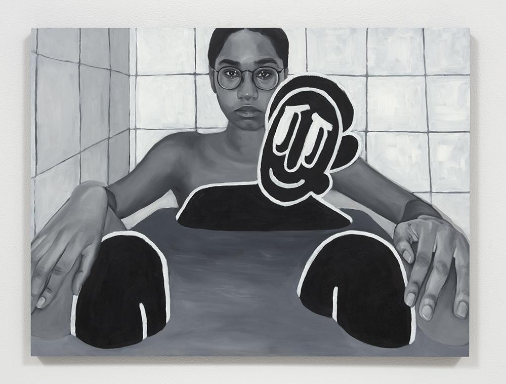 Brittany Tucker.<em> Bath time</em>, 2019. Oil on panel, 18 x 24 inches  (45.7 x 61 cm)