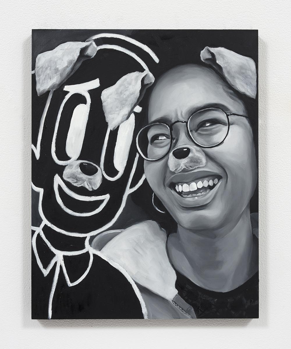 Brittany Tucker.<em> Dog eat Dog</em>, 2019. Oil on panel, 14 x 11 inches  (35.6 x 27.9 cm)