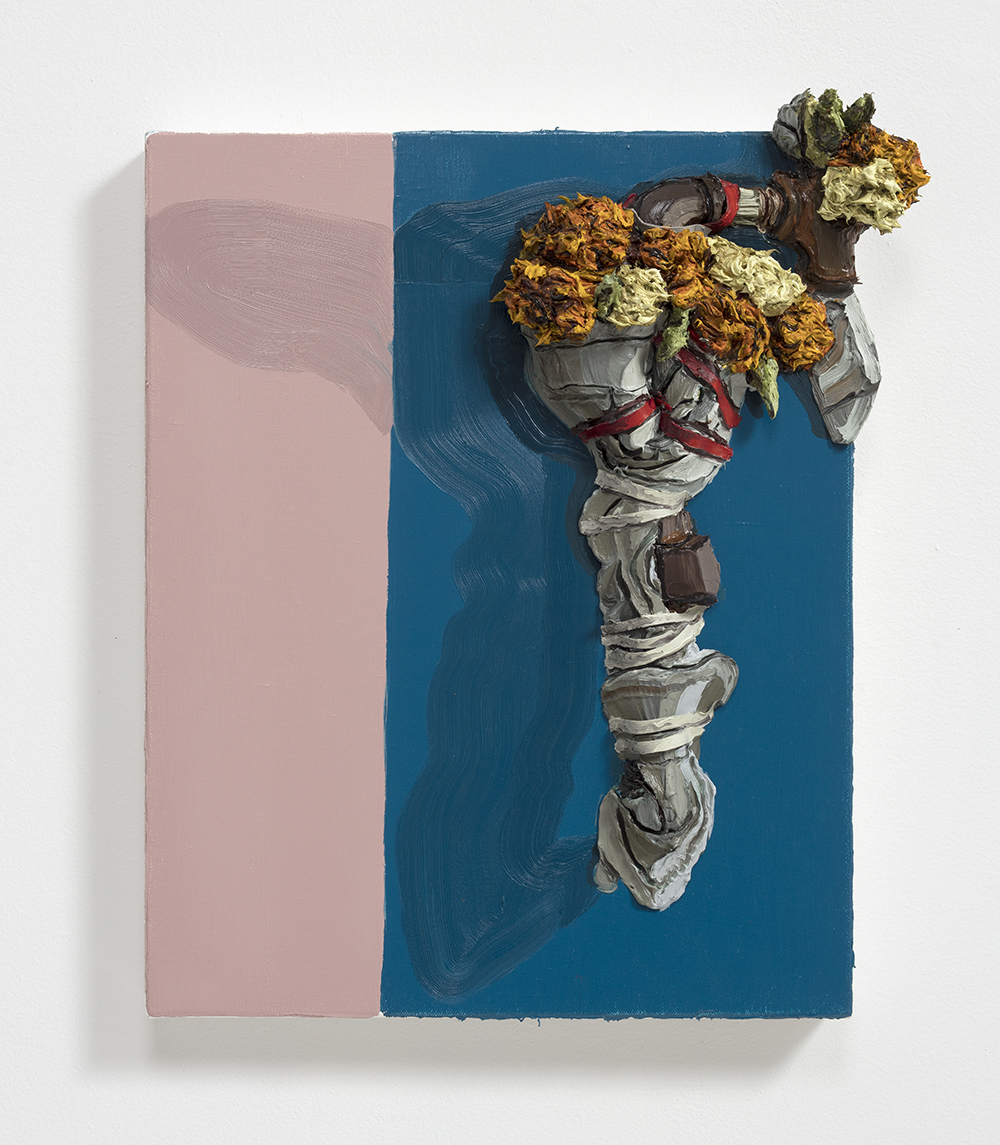 Herman Aguirre.<em> Espuma</em>, 2019. Oil and acrylic on canvas, 21 1/2 x 17 1/2 x 4 1/2 inches (54.6 x 44.5 x 11.4 cm)