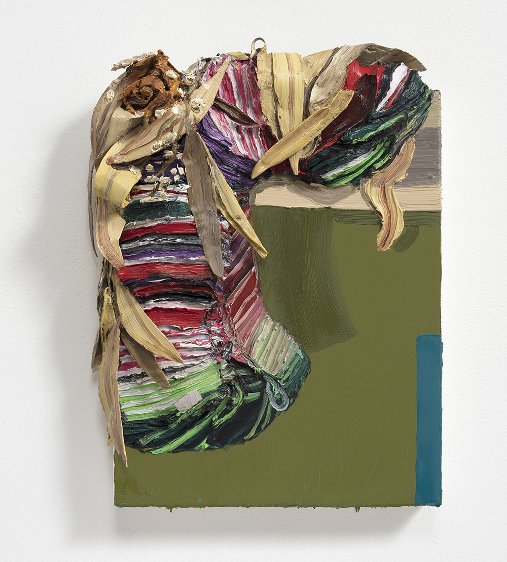 Herman Aguirre <em> Luto</em>, 2019. Oil on canvas, 16 x 12 x 3 1/2 inches  (40.6 x 30.5 x 8.9 cm)