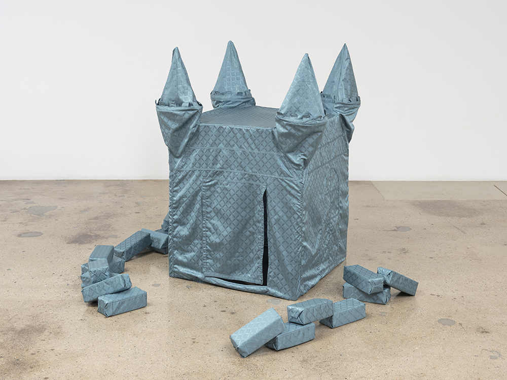 Alix Vernet. <em>Blue Castle</em>, 2019. Textile, plastic supports, 52 x 40 x 50 inches (132.1 x 101.6 x 127 cm)