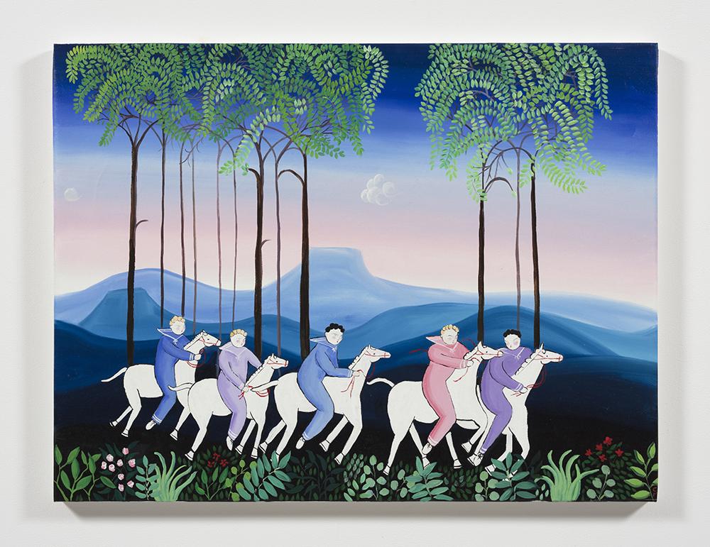 Claire Milbrath, Toccata and Fugue (Adventure scene), 2019 Oil on canvas 30 x 39 1/2 inches (76.2 x 100.3 cm)