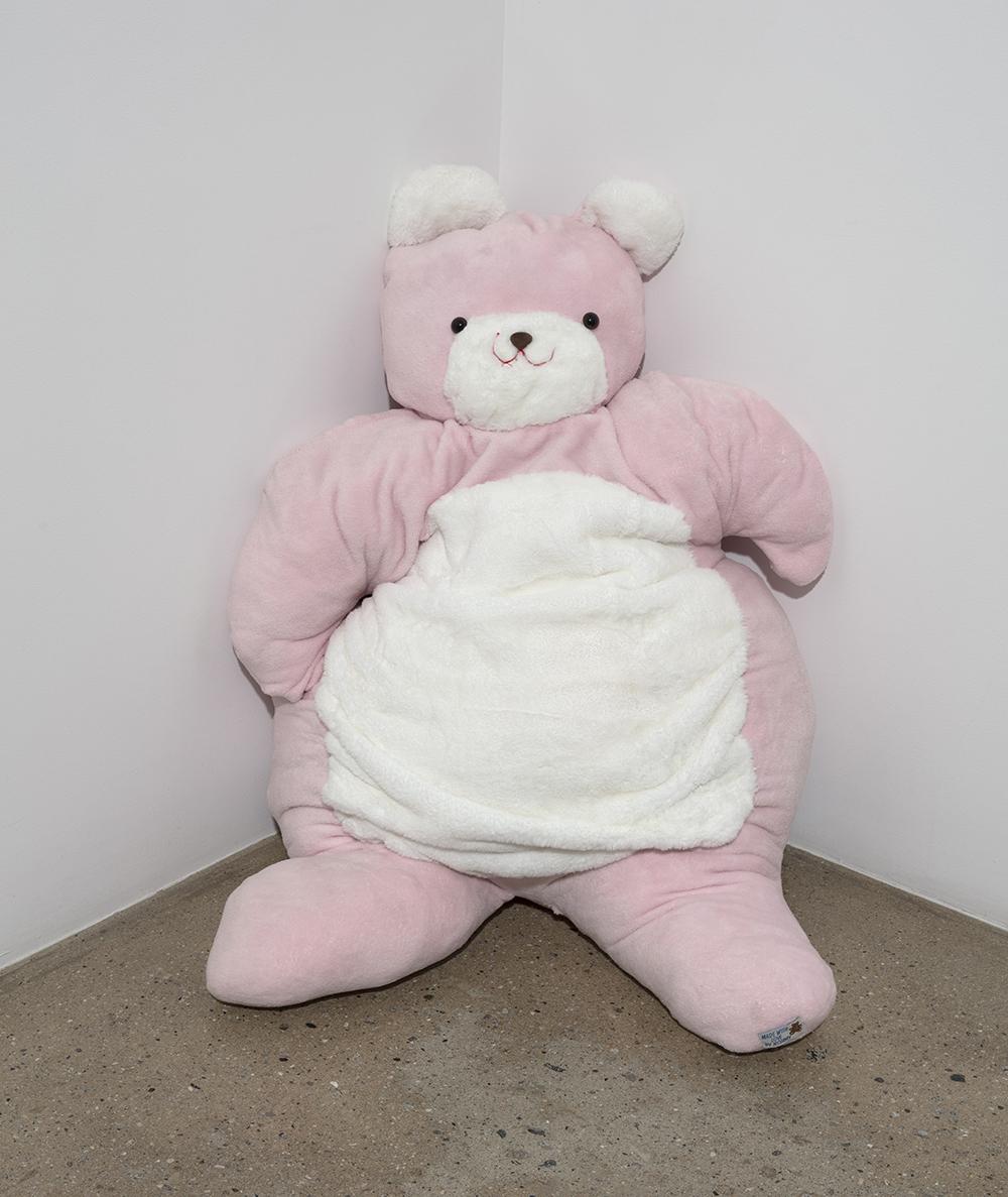 Claire Milbrath. <em>Sweetie</em>, 2019. Textile, plastic eyes, 45 x 28 x 12 inches (114.3 x 71.1 x 30.5 cm)