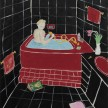 Claire Milbrath. <em> Black Bathroom Red Tub</em>, 2019. Oil on canvas, 22 x 28 inches (55.9 x 71.1 cm) thumbnail