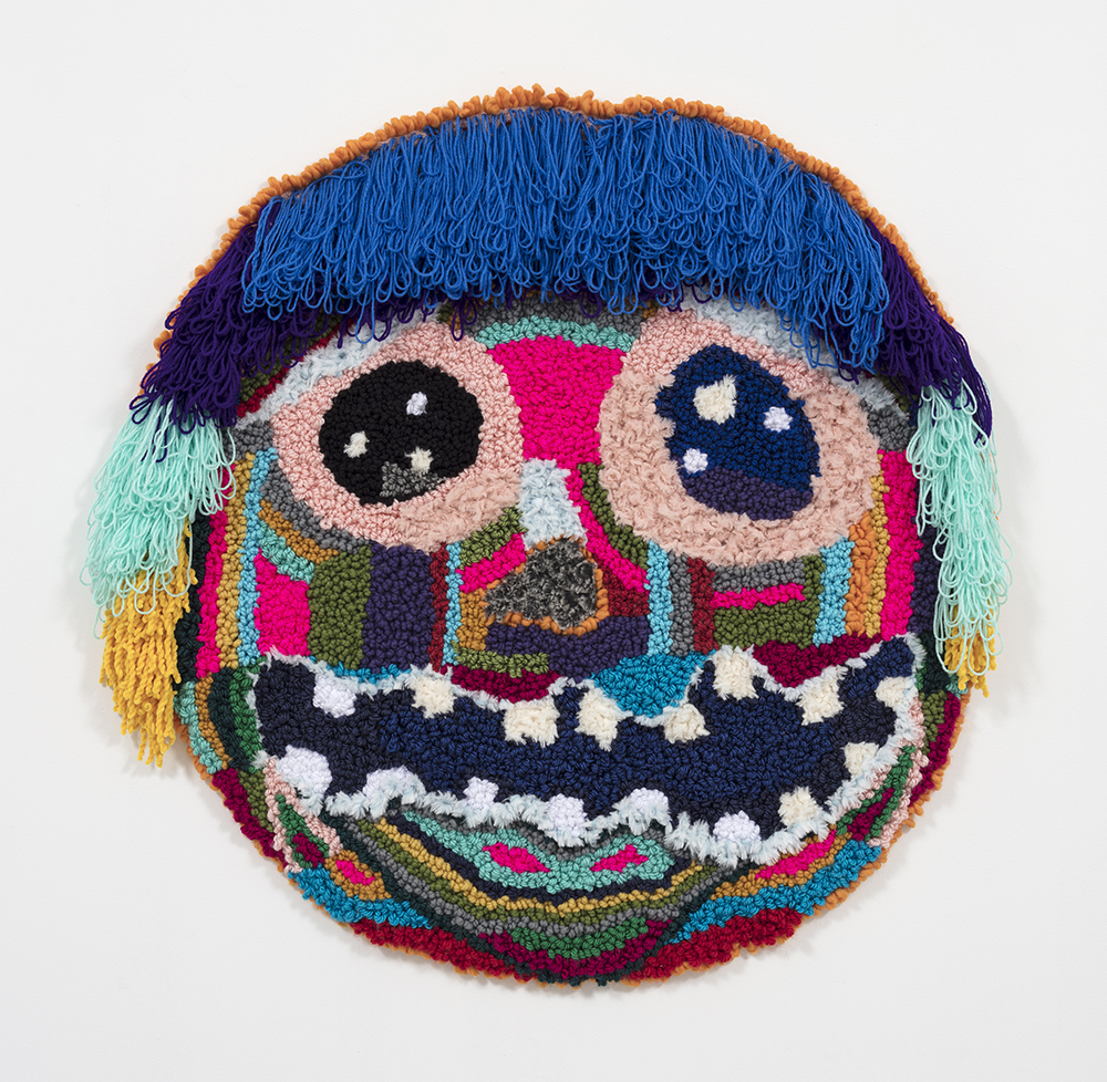 Hannah Epstein.<em> Vision Seed</em>, 2019. Acrylic, polyester, wool, 45 x 43 inches  (114.3 x 109.2 cm)