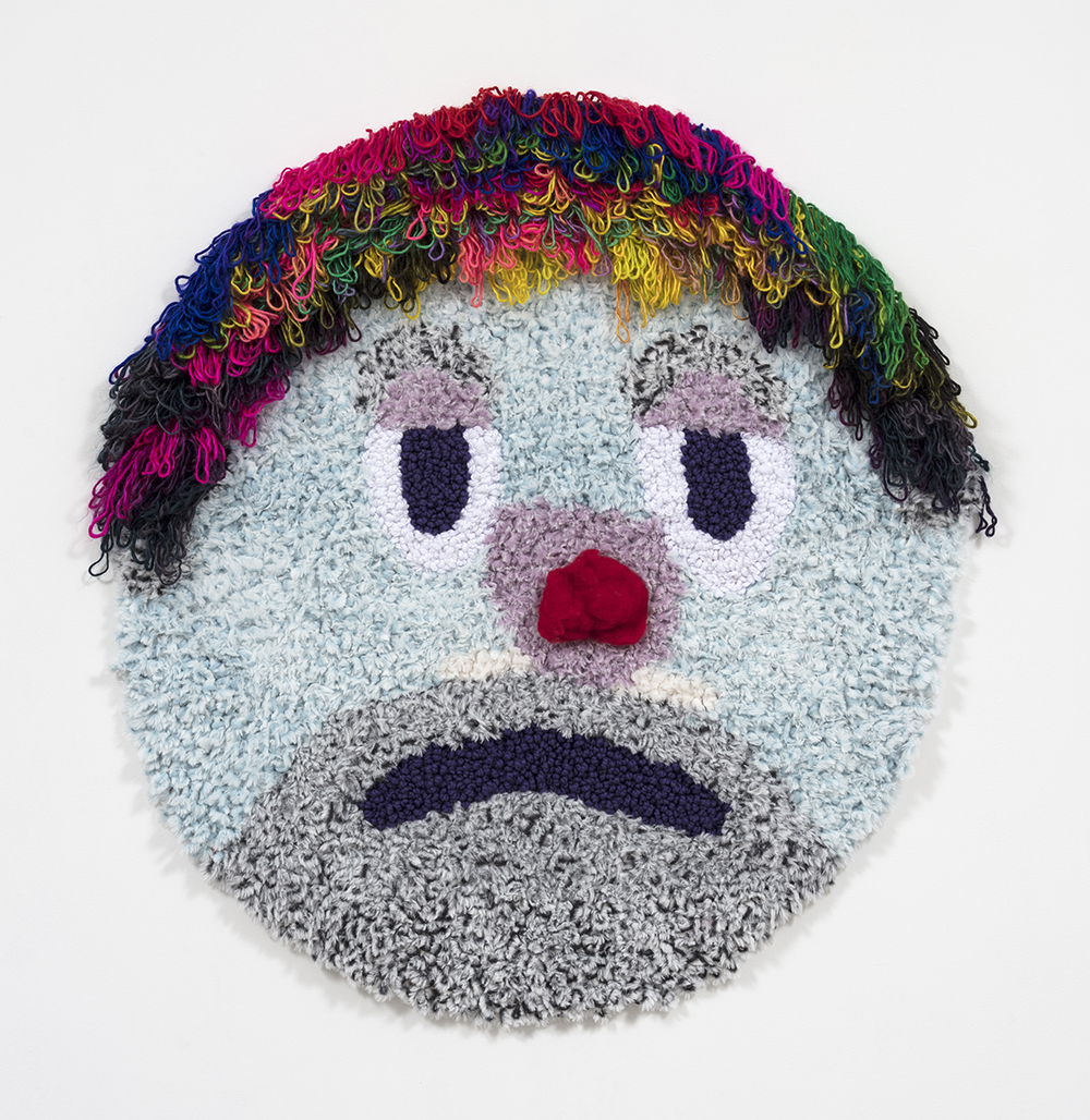 Hannah Epstein.<em> The Last Clown in the Shtetl</em>, 2019. Acrylic, polyester, wool, 47 x 41 inches  (119.4 x 104.1 cm)