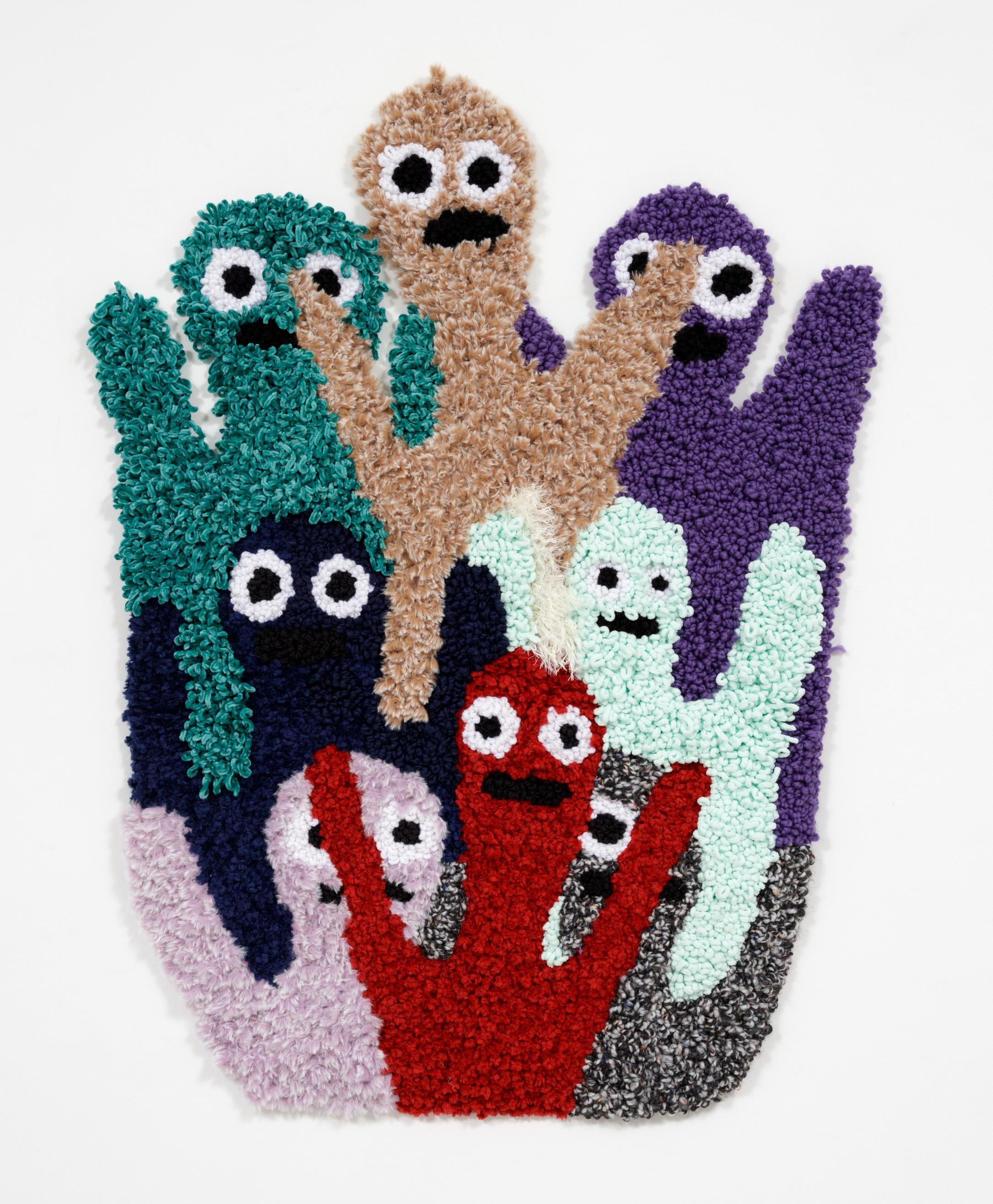 Hannah Epstein.<em> HEYYYYYYY</em>, 2018. Wool, acrylic, polyester and burlap, 46 x 34 inches (116.8 x 86.4 cm)