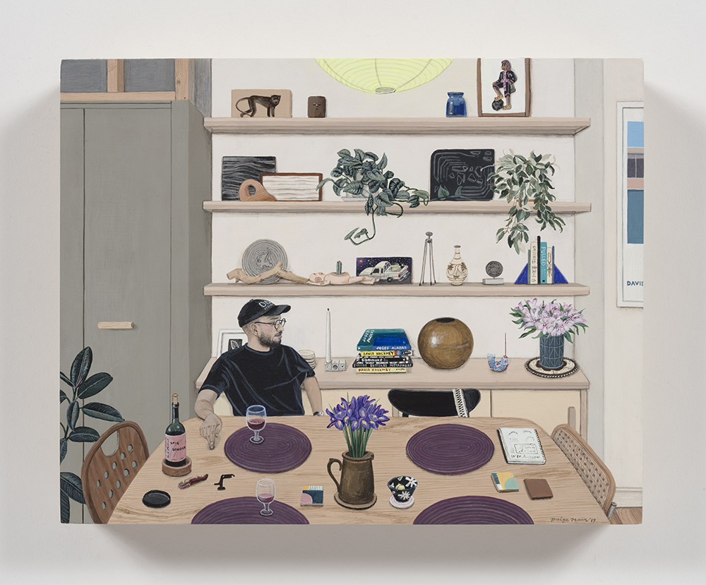 Paige Jiyoung Moon.<em> Carlos With His Shelf</em>, 2019. Acrylic on panel, 8 x 10 inches (20.3 x 25.4 cm)