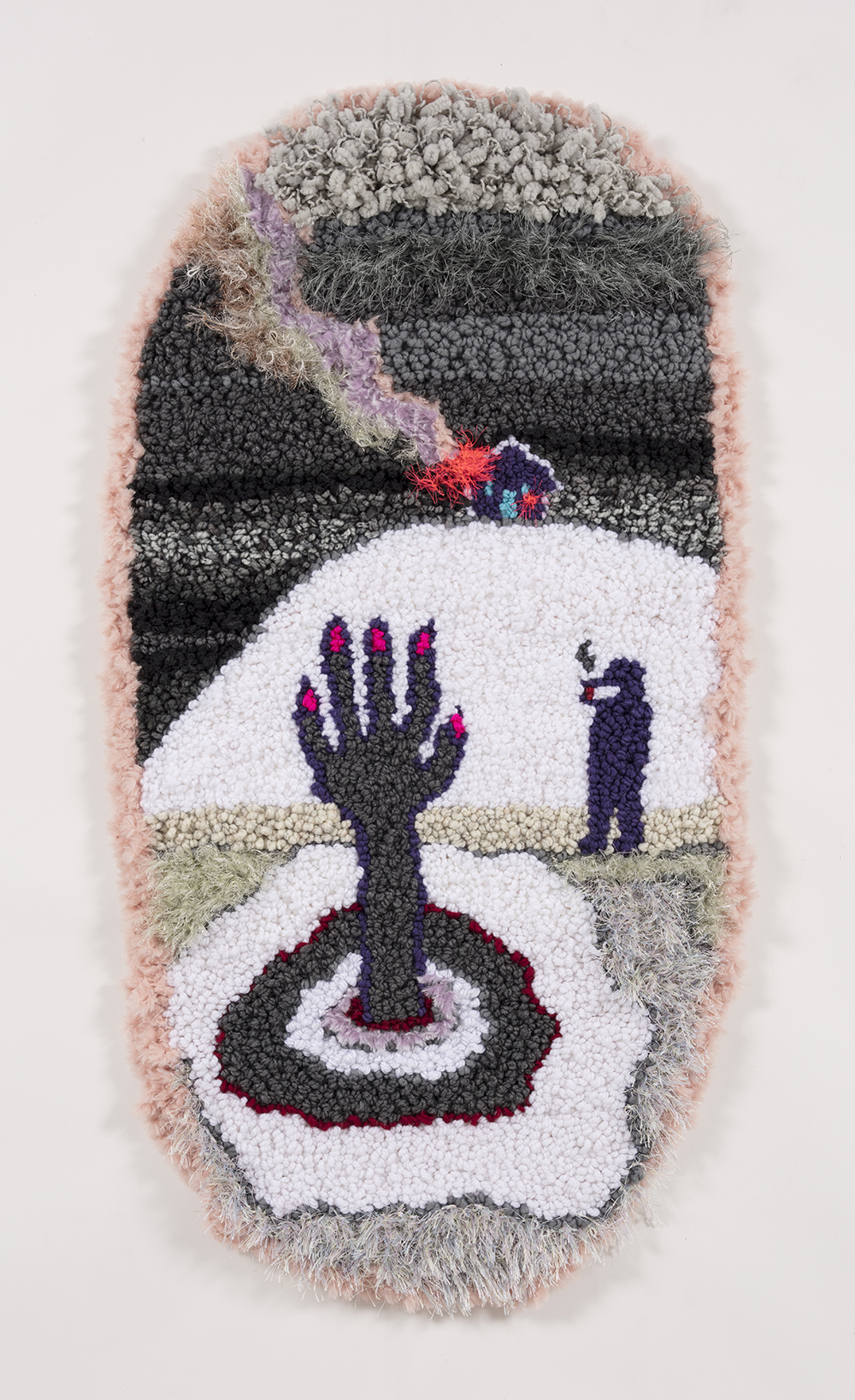 Hannah Epstein.<em> At the river with my baby</em>, 2019. Acrylic, polyester, wool, 45 x 23 inches (114.3 x 58.4 cm)