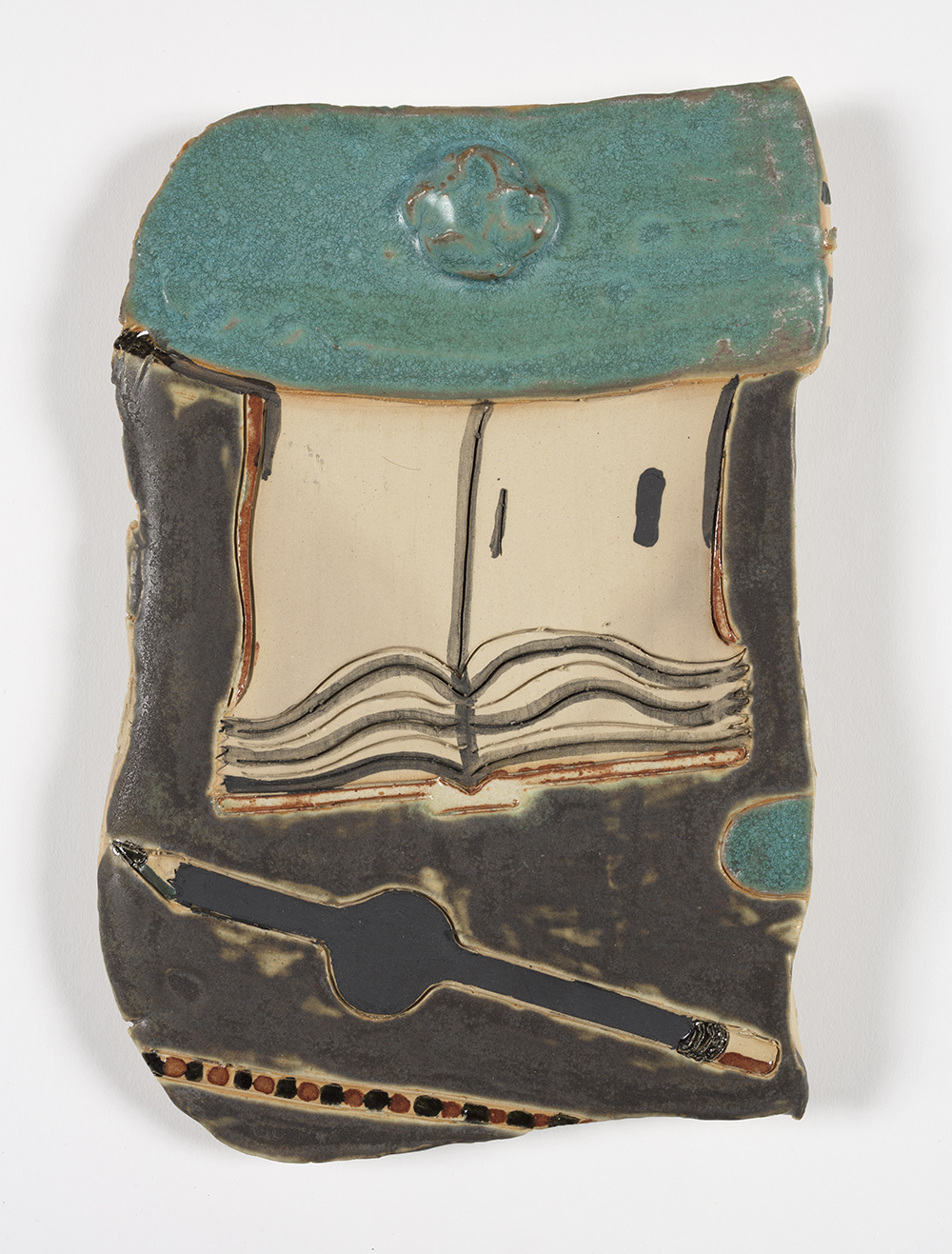 Kevin McNamee-Tweed. <em> Notebook 33</em>, 2019. Glazed ceramic, 10 1/2 x 8 inches  (26.7 x 20.3 cm)