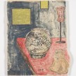 Kevin McNamee-Tweed.<em> Cat, Bowl, Buddha</em>, 2018. Monotype on mulberry paper mounted on wood, 8 3/4 x 10 1/2 inches (22.2 x 26.7 cm) thumbnail