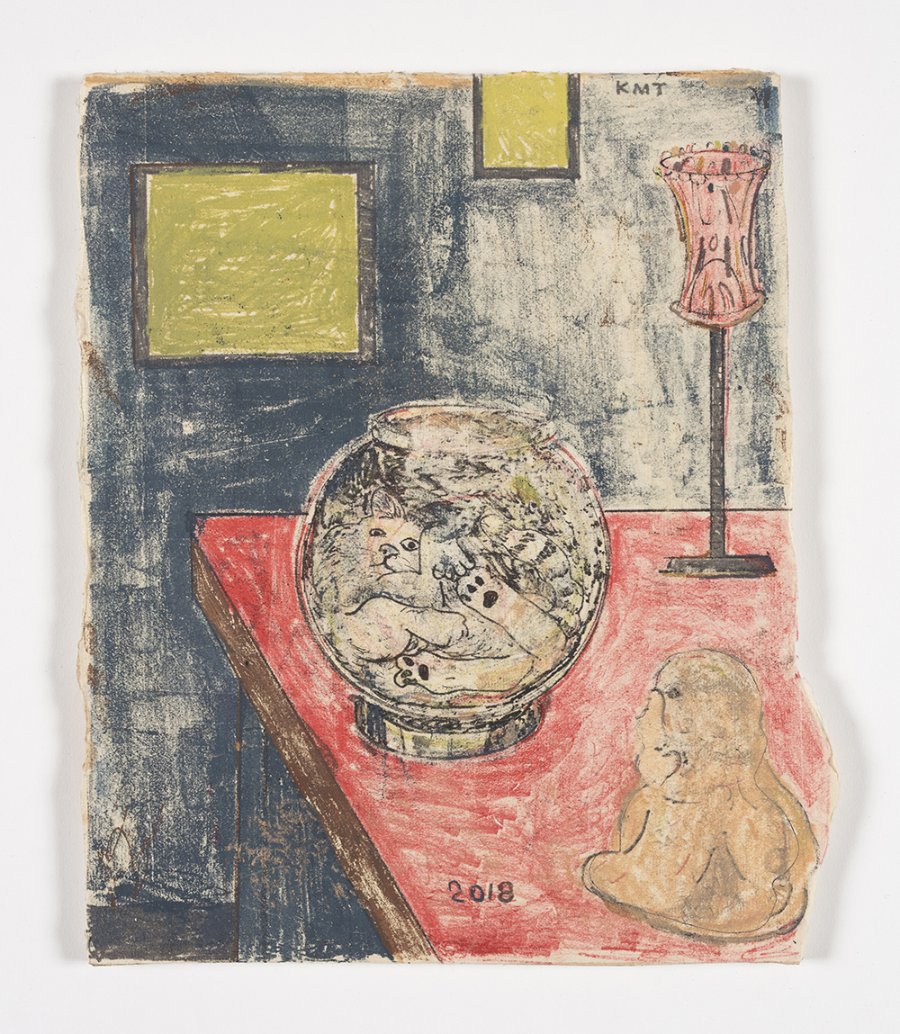 Kevin McNamee-Tweed.<em> Cat, Bowl, Buddha</em>, 2018. Monotype on mulberry paper mounted on wood, 8 3/4 x 10 1/2 inches (22.2 x 26.7 cm)