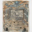 Kevin McNamee-Tweed.<em> Train/Theatre</em>, 2018. Monotype on mulberry paper mounted on wood, 10 1/2 x 8 3/4 inches (26.7 x 22.2 cm) thumbnail