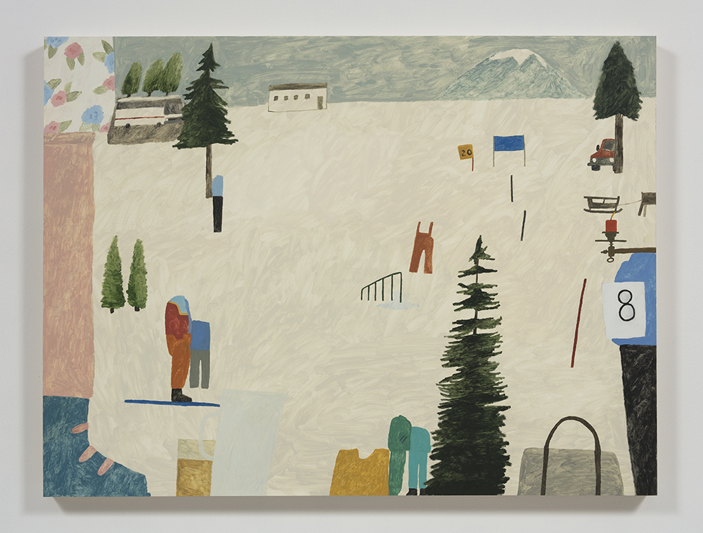 Mariel Capanna.<em> Tour Bus, Ski Boot, Candle, Bib</em>, 2019. Oil and wax on panel, 36 x 48 inches (91.4 x 121.9 cm)