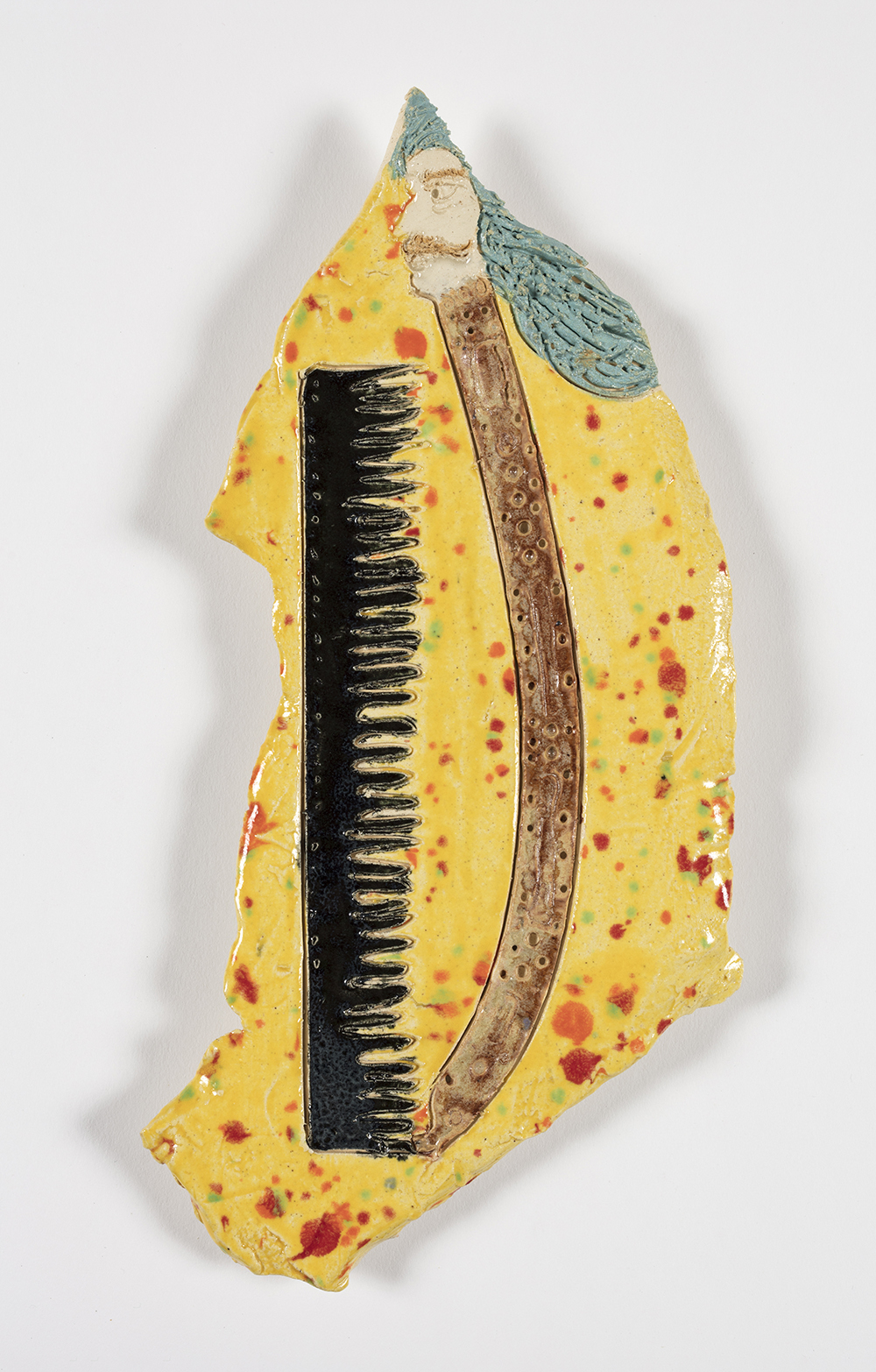 Kevin McNamee-Tweed.<em> Untitled (Comb)</em>, 2019. Glazed ceramic, 9 3/4 x 5 inches (24.8 x 12.7 cm)