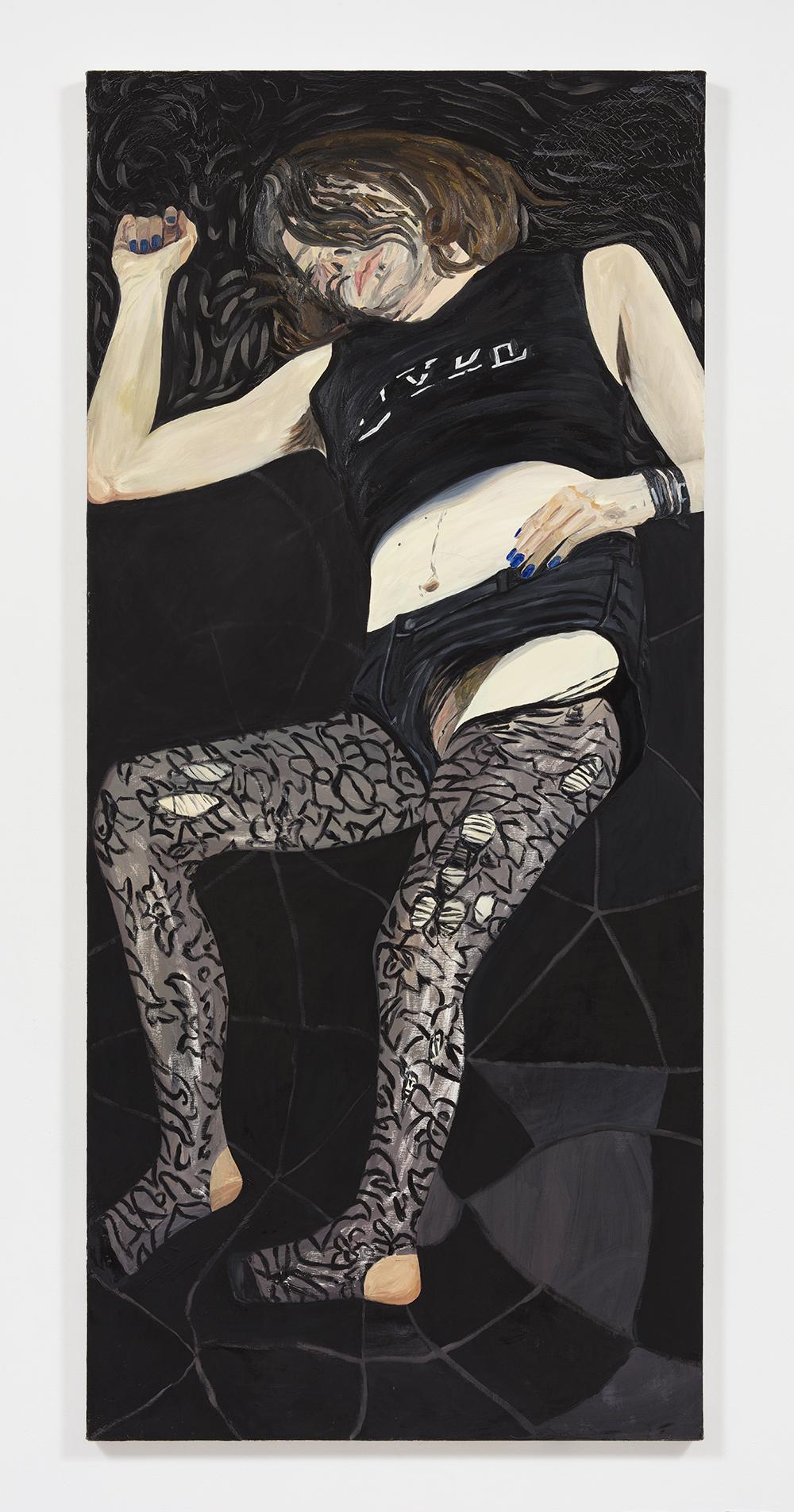 Rebecca Shippee. <em> Lucy(Dyke)</em>, 2019. Oil on canvas, 80 x 40 inches (203.2 x 101.6 cm)