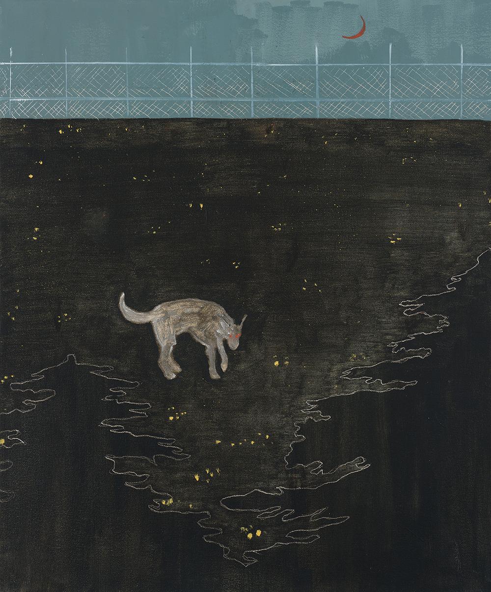 Francisco Rodriguez.<em> Dog at Night</em>, 2019. Oil on canvas, 23 5/8 x 19 5/8 inches (60 x 50 cm)