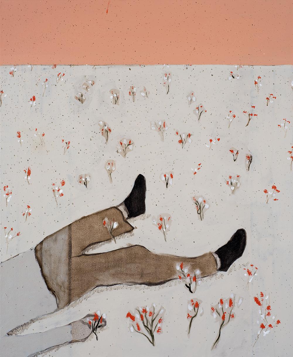 Francisco Rodriguez.<em> Garden with men</em>, 2019. Oil on canvas, 23 5/8 x 19 5/8 inches (60 x 50 cm)