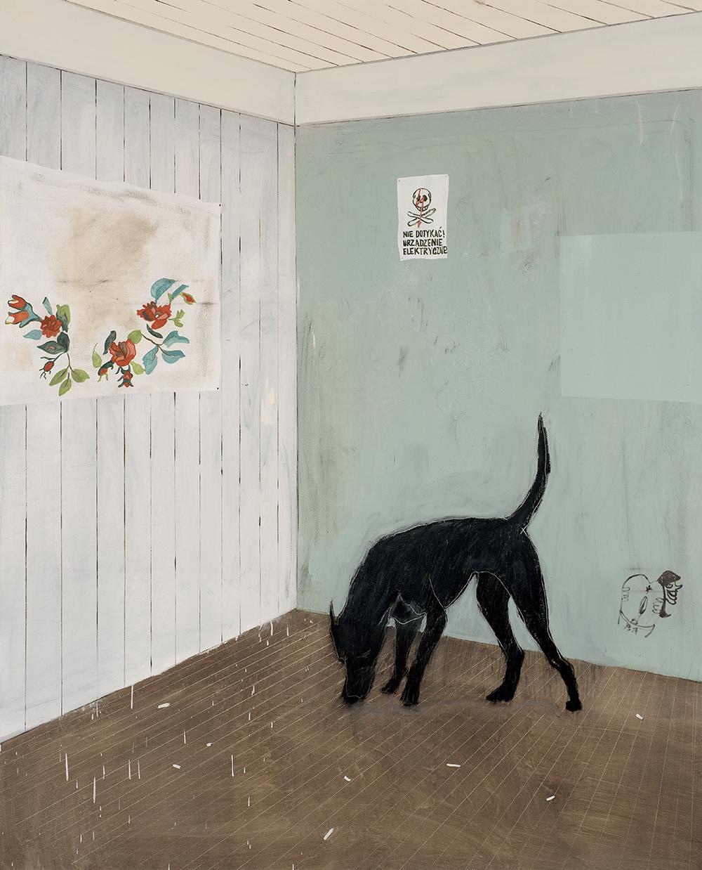 Francisco Rodriguez.<em> Green Corner</em>, 2019. Oil on canvas, 82 5/8 x 66 7/8 inches (210 x 170 cm)
