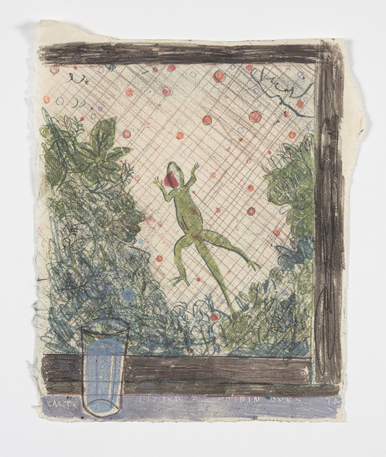 Kevin McNamee-Tweed.<em> Lizard and fireflies</em>, 2019. Monotype on mulberry paper mounted on wood, 11 x 8 in (27.9 x 20.3 cm)
